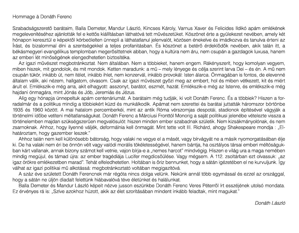 Donáth László: Hommage à Donáth Ferenc
